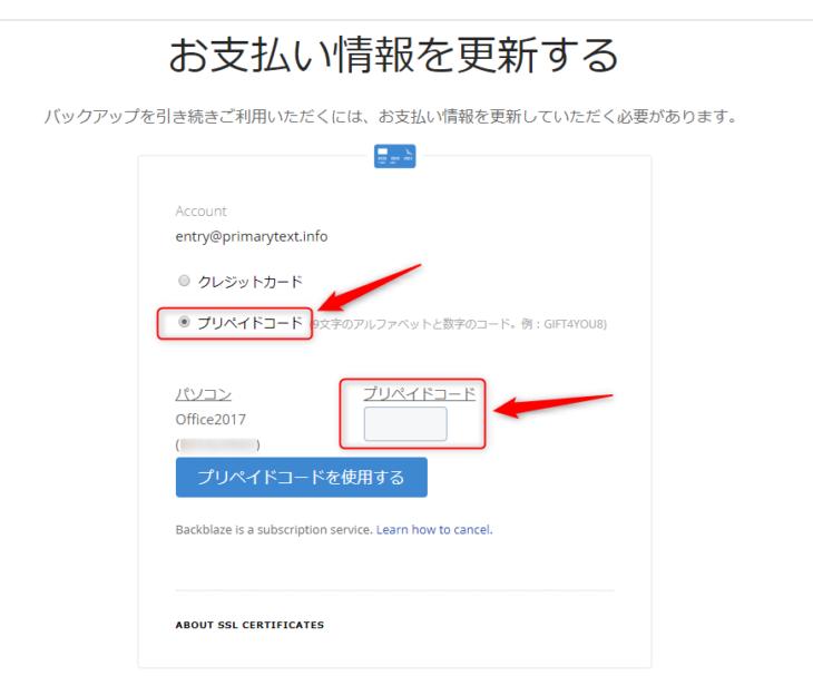 Backblazeのプリペイドコード登録画面