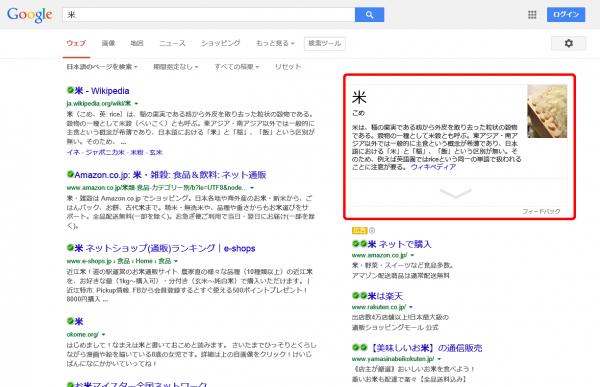 米のGoogle検索結果